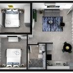 מבט על - דירת נופש עם שני חדרים ללא מרפסת בבאר שבע