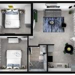 מבט על של דירת נופש עם שני חדרים וטרסה משותפת בבאר שבע